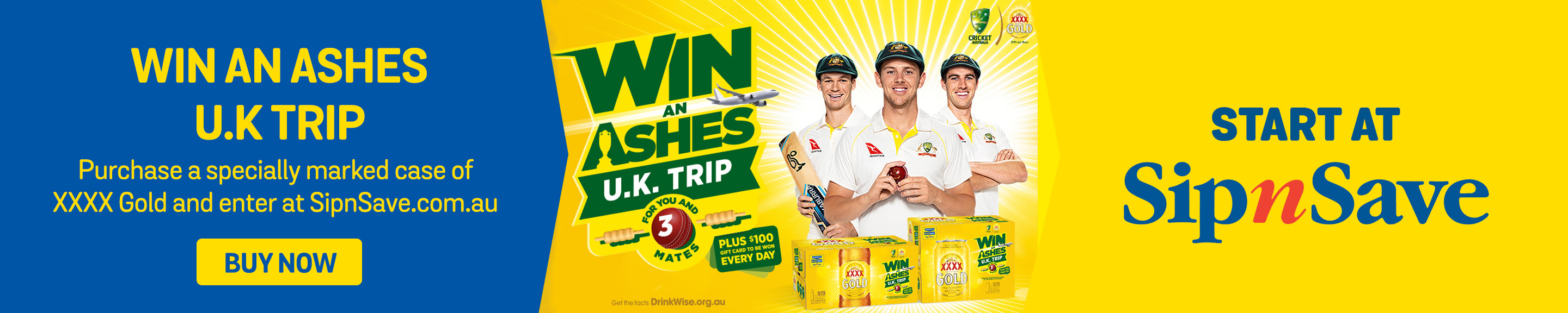 Purchase a specially marked case of XXXX Gold and enter at sipnsave.com.au