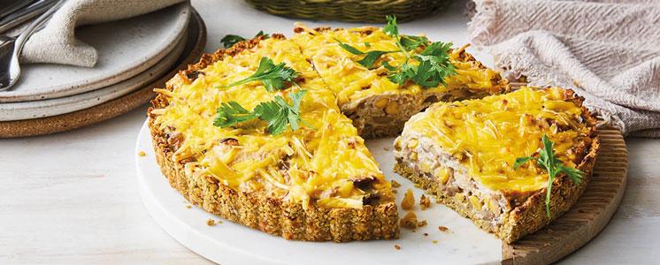 Falafel, Corn & Mushroom Quiche