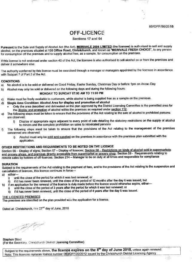 Scan of liquor license 60/OFF/40/2019